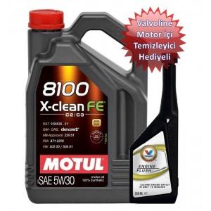 MOTUL 8100 X-CLEAN FE 5W30 4L(VALVOLİNE MOTOR TEMİZLEYİCİ HEDİYELİ)
