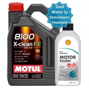MOTUL 8100 X-CLEAN FE 5W30 5L(SHELL MOTOR TEMİZLEYİCİ HEDİYELİ)