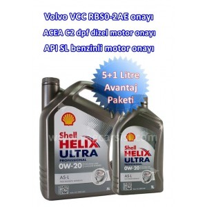 SHELL HELİX ULTRA PRO AS-L 0W20 5+1 LİTRE VOLVO VCC RBS0-2AE